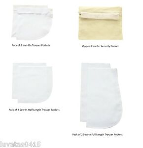 Nortexx Replacement Trouser Pockets Linings 100% Cotton Iron-on or Sew-on