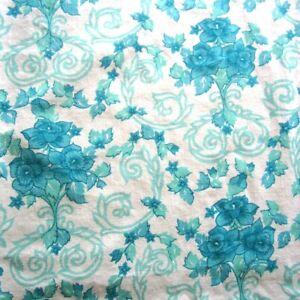 1 Pillowslip Aqua Blue Tulip & Vine Single Bed Vintage Cotton Fabric 1960s