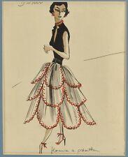 Fashion illustration 1950's Signed Schatken
