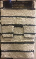 COTTON SILK NATURAL BLACK STRIPED 2 PIECE LUXURY BATHROOM MAT & PEDESTAL SET