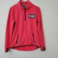 Pink Victoria's Secret Women's Half Zip Pullover Fleece Sweater Medium  Pink VS
