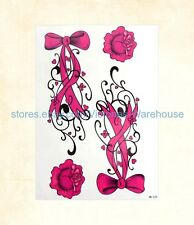 """US Seller-tattoos lower back Pink flowers tie 8.25"""" large arm tattoo temporary"""