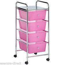 VonHaus Pink 4 Drawer Make Up Mobile Home Office Beauty Salon Storage Trolley