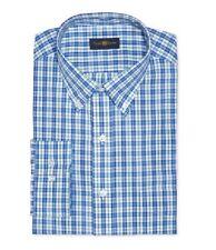 NWT $90 CLUB ROOM Men REGULAR FIT BLUE MICRO CHECK CASUAL DRESS SHIRT 17 32//33