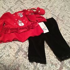 B.t.Kids 3 Piece Girls Holiday Christmas Pant Top Set W/Shoes Size 6/9 Months
