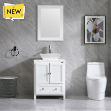 "24"" Modern Stand Bathroom Vanity Combo with Ceramic Vessel Sink Faucet & Mirror"