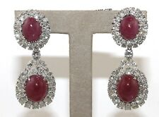Burmese Oval Rubin & Diamant Ohrhänger 18k Weiss Gold 65.11Ct GIA