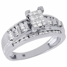 10K White Gold Ladies Princess Cut Diamond Wedding Engagement Ring Set 0.50 Ct.