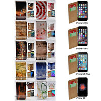 For Apple iPhone Series Case - Music Note Print Flip Wallet Phone Case Cover