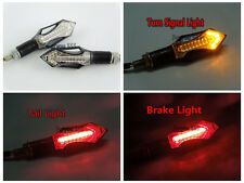 2PCS 12V Mini Red & Amber LED Motorcycle Rear Turn Signal Tail Lights For Yamaha