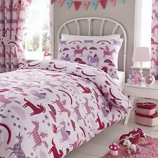 """Happy Linen Co Unicorn Pink Girls Fully Lined Pencil Pleat Curtain Set 66"""" X 54"""""""