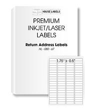 1000 Sheets 80000 Labels 1.75 x 0.5 FAST PEEL 80 UP White Return Address Labels