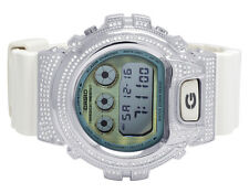 Mens Ladies Casio G Shock 6900 White Glossy Genuine White Diamond Watch 3.0 Ct