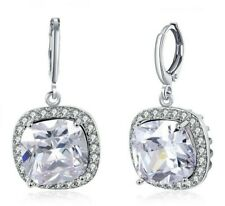 5 CT 18K White Gold Drop Earrings Made with Swarovski Crystals Pave Halo ITALY