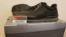 Men Prada Black Leather Sneakers-Size 10.5 US Free Shipping