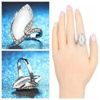 Hochzeit Versprechen Cristal Blanc Oval Geformt Großer Opalring Versilbert