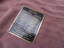 """JAGUAR  CAR """" BRASS LUBRICATION PLATE"""" from the 1930/50s."""