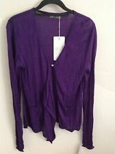Friendtex Purple Cardigan With Asymmetrical Draping Front BNWT