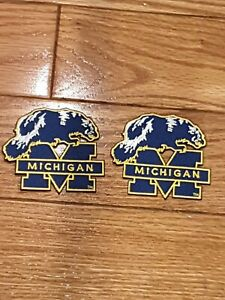 """(2) University Of Michigan Wolverines  Embroidered Iron On Patches 3""""X 2.5""""NICE"""