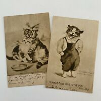 Antique Cat Postcard Lot 2 Cute Funny Cats Anthropomorphic Overalls Love 1909