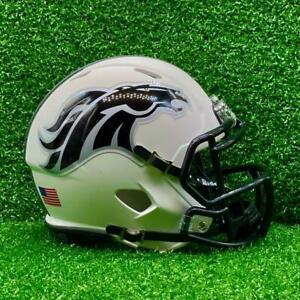 Denver Broncos CUSTOM Concept Matte White - Metallic Decals Mini Football Helmet