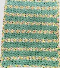 """Hand Crocheted Baby Blanket Afghan Unisex 40"""" x 31.5"""" Unique Color Excellent"""