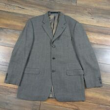 M&S Mens Size 44L Brown Fine Weave Single Breasted Merino Wool Jacket Tall Long