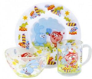 Dinner Set for Children (Plate, Bowl, Mug) Dinnerware Set for Kids Smeshariki