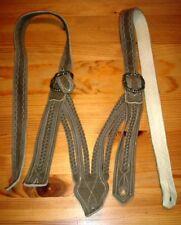 Norwegerträger grau-braun Hosenträger Trachten-Lederhose Vintage 100 cm