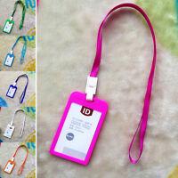 Vertical Blastic ID Name Card Holder Work Badge w/ Lanyard IJ