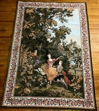 """Antique VTG 60"""" Woven Courting Floral French Country Castle Victorian Tapestry"""