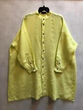New Eskandar Size 1  1x  2x Yellow Mandarin Collar Linen Dress
