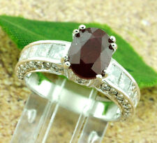 18k Solid White Gold Natural Diamond & Oval Shape Ruby Ring 4.88 ct princess