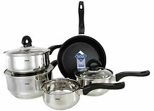 BUCKINGHAM INDUCTION SET OF 5 SAUCEPAN STIANLESSSTEEL COOKWARE NON STICK POT SET