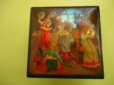 "Russian lacquer Wood Box Hand Painted Signed ""FEDOSKINO "" АЛЕНЬКИЙ ЦВЕТОЧЕК"""