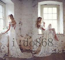 New Vintage White/Ivory Lace Bridal Gown Cap Sleeve Wedding Dress Custom Size