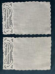 "Vintage Set of 12 MADEIRA Hand Embroidered ""H""Monogram Cocktail NAPKINS"