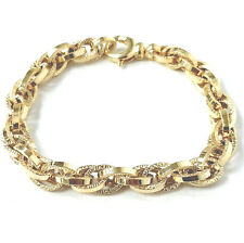 Ladies Gold Bracelet 9ct Yellow Gold Fancy Link 7.2mm Wide Fancy 8.1g 7.5 Inches