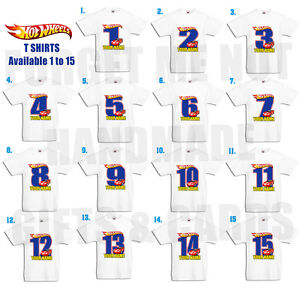 Hot Wheels Personalised Kids T Shirt BIRTHDAY ANY NAME & NUMBER 1yr to 15yrs