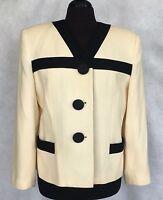 Kasper ASL Petite Womens Wool Winter White & Black Blazer Jacket 10P