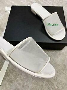 mesh+lamb leather CC logo flats slippers fashion women 2021new35-40 high quality