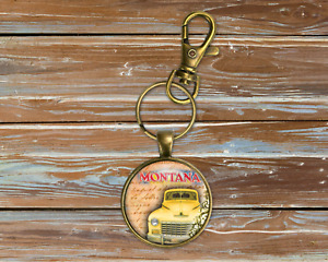 Retro Vintage Car Art Bronze Key Chain Ring Clip Montana Fathers Day Gift New