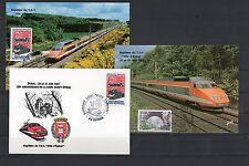 FRANCE lot de 3 cartes 1er jour d'émission TRAIN TGV ville d'EPINAL baptéme 1987