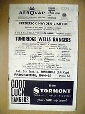 Southern League & London League 5/9/1965- TUNBRIDGE WELLS RANGERS v TONBRIDGE