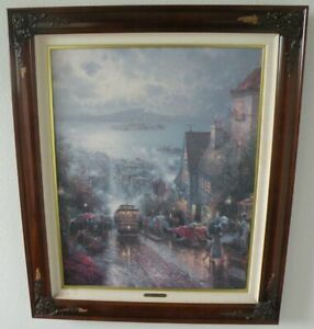 """Thomas Kinkade """"Hyde Street and the Bay"""" 24"""" X 30"""" SN Canvas Framed Hand Signed"""