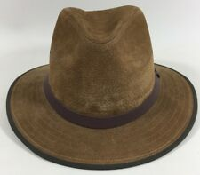 JAXON Brown 100% Leather Outdoor Nubuck Safari Hat #147200 Men's XL NWT NIB