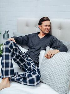 Mens PJS Size S-XXL Pyjamas Pelaco Cotton Top Flannel Pants Navy Grey 6133303