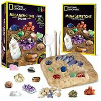 NATIONAL GEOGRAPHIC Mega Gemstone Dig Kit 15 Genuine Educational Learning Guide