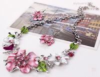 Halskette Statement Kristall Strass Blume Kette Collier Ohrring Schmuck Set Mode