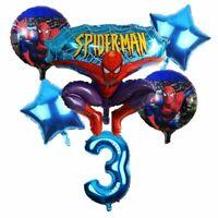 6pcs/lot Spiderman Birthday Number Foil Balloons Cartoon Children Party Supplies